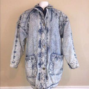 Vintage 80s Blue Acid Wash Thick Heavy Jacket S